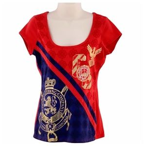 🌻Coogi Red Gold Rhinestone Cap Sleeve T-shirt LG
